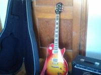 Cherry red Epiphone Les Paul standard with Peavey rage
