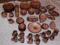 67pc LOT PLAINSMAN BROWN & CINNAMON FRANKOMA POTTERY