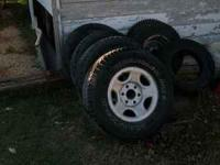 "Steel wheels from 6 bolt chevy truck 16"" with decent"
