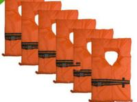 6 pack of Life Jackets for boating NEW. + Child Size