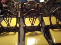 6 very nice vintage mohagany chairs, 5 regular chairs 1