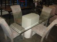 4 matching chair. nice 6 ft piece of glass with bevel.
