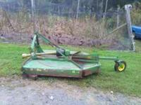 John Deere rotary mower. 6 ft. Good condtion $500. Will