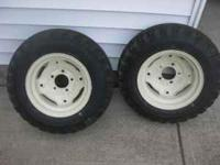 6x12 tires and rims. Rims are 5 bolt pattern. Rims have