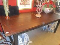 Locally hand made rustic Farmer Table. Is 7' long. We