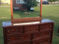 Solid wood 7 drawer Lane dresser with mirror .