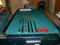 7' pool table - air hockey table.6 pool sticks, balls ,