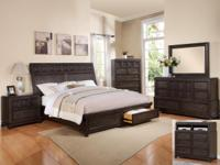 "LOVELY 7PC ""ASHER STORAGE"" QUEEN BEDROOM SUIT SOLID"