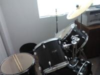 Black remo head drumset by Basix three drum, snare, and
