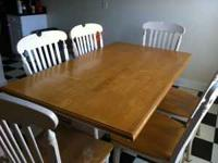 White wash dining set with table and 6 chairs. Needs