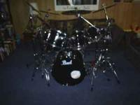 """7 piece pearl export kit. 3 mounted toms,8"""",10"""",&12"""". 2"""