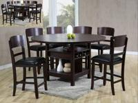 Solid hardwood mission dining set in medium brown