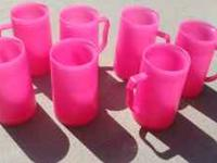 Cute pink plastic mugs 7 of them for $5 call Rhonda