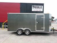 7' x 16' plus 11/2' V-nose LARK Enclosed Trailer, Ramp
