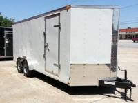 "7 x 18 plus V-nose, Ramp Door, 6'6"" Interior Height,"