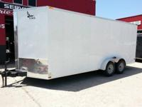7' x 18' plus 11/2' V-nose LARK Enclosed Trailer, Ramp