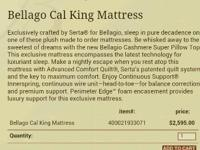 I Have a Cal King Bellagio Mattress that was a display