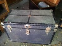 "Very nice dark old trunk. 21"" tall x 33"" wide x 19"""