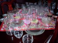 For sale 70 pieces of glassware, all clear in color.