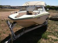 74 open bow glasstron with 85 hp Johnson outboard motor