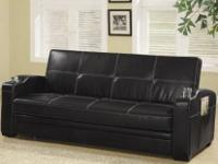 High Quality Faux Leather Sofa Bed with Storage and Cup