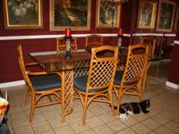 Glass Top Rattan 6 Seat Dining Room Table for sale in