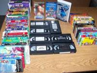 75 vhs tapes of movies, 40 are children themes, 10 are