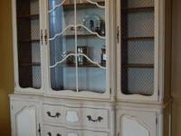 This is a beautiful french provincial hutch that has