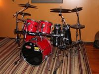 Ferrari Red Pearl Export Series drum set with all kinds