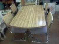 Formica Table and Chrome Legs with 4 Four Chairs