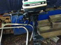 A running Gamefisher 7.5 hp outboard. Consists of extra