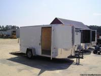 7 x 14 Enclosed Cargo Trailer, rounded V nose, white