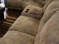 7 pc Microfiber Ashley Beige Sectional Sofa. It was