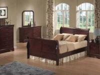 Includes Queen bed, dresser, mirror, chest &