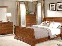 7PC Queen FAUX Marble Sleigh Bedroom Set - Set includes