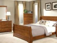 7PC Queen FAUX Marble Sleigh Bedroom Set with Sleigh