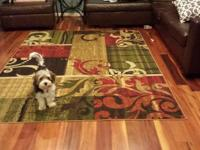 Beautiful living room rug. Has reds, browns, greens and