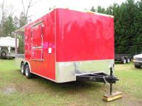 8.5 x 20? BBQ Porch concession trailer, red exterior