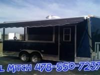 8.5x20' Blue Concession Trailer w/Porch