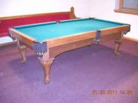 FOR SALE 8' A.E. Schmidt Oak pool table with leather