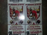 (2) Tickets to see #8 Florida State vs Bethune Cookman.