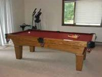 8 Foot Oak Olhausen slate Pool Table for sale. 3 1/2