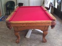 8 foot oak pool table. 3 peice italian slate. Solid oak