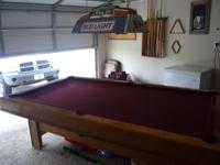 8 FT 3 Piece Slate Pool Table with rack and balls - in