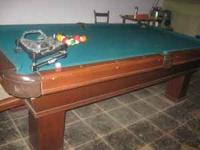 8 ft Conley Pool Table, three piece slate with custom