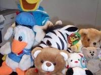 "8 stuffed animals: 2 Donald Ducks - 12"" ($14) - 18"""