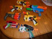 8 Miscellaneous small to medium sized nerf guns,