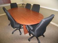 8' Oval Wood Veneer Conference Table with Cherry Finish