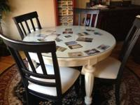 "Round Table with 24"" panel, Custom Round Glass Top, 4"