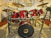 8 piece 1980's Pearl Export drum kit complete with